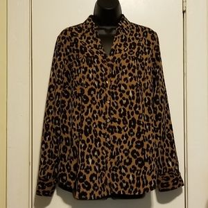 Talbots Leopard Print Button Down Shirt